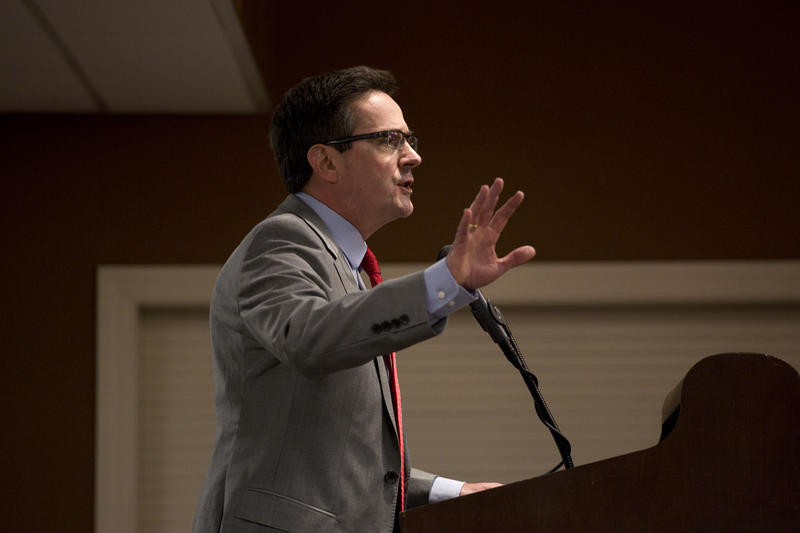 State Sen. Kurt Schaefer, who is running for state attorney general, speaks during the Pachyderm Attorney General Forum on Saturday afternoon at Lincoln Days.