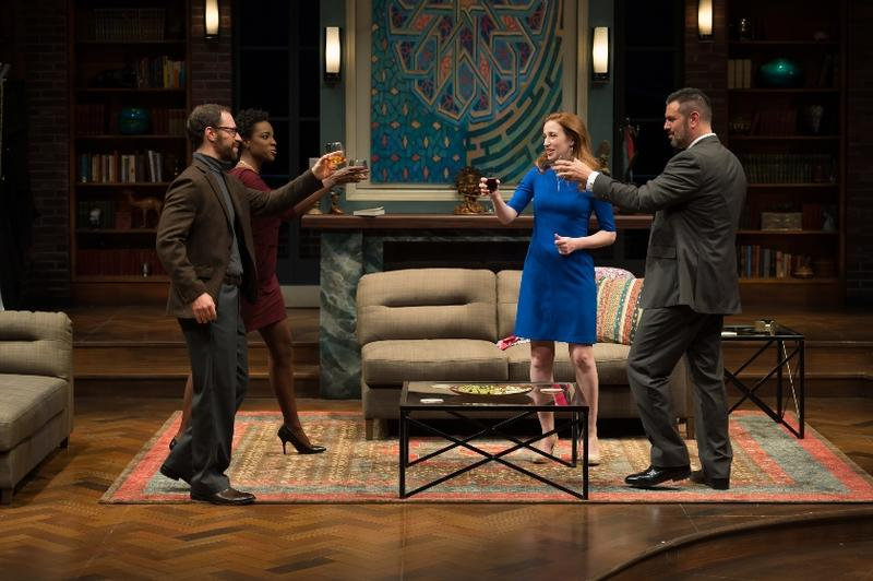 A dinner party with Isaac (Jonathan C. Kaplan), Jory (Rachel Christopher), Emily (Leigh Williams) and Amir (John Pasha) in The Rep's