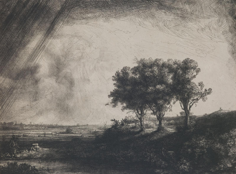Rembrandt van Rijn, Dutch, 1606–1669; The Three Trees, 1643; etching, drypoint, and engraving; image: 8 5/16 x 10 15/16 inches; Saint Louis Art Museum, Museum Purchase