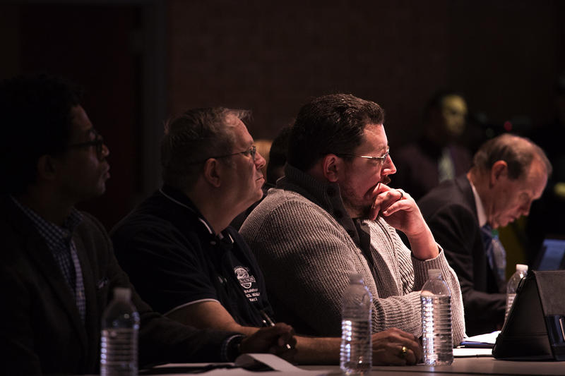 Ferguson Mayor James Knowles listens to public testimony on Saturday about a proposed consent decree. Knowles and the rest of the city council could vote on whether to accept the 131-page agreement on Tuesday.