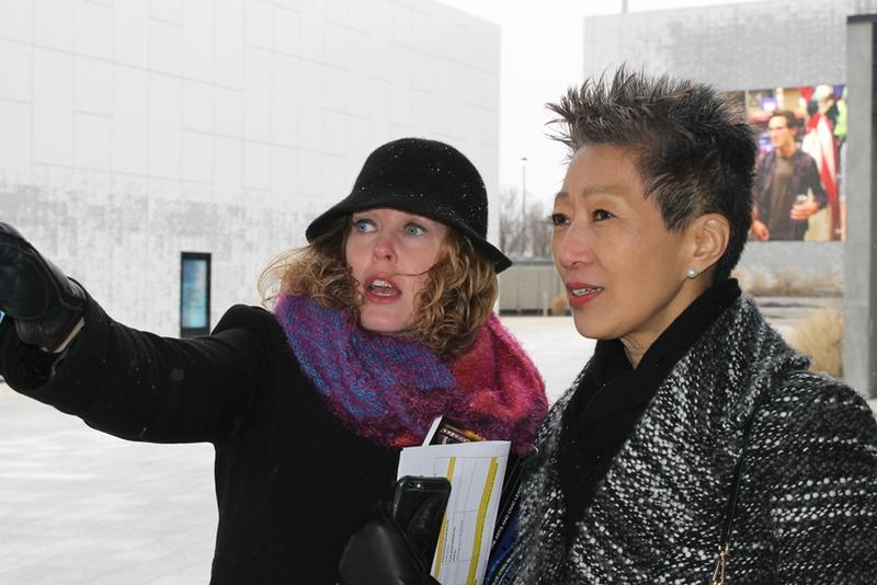 Grand Center vice president Michelle Stevens and National Endowment for the Arts chairman Jane Chu in the Public Media Commons on Olive Street.