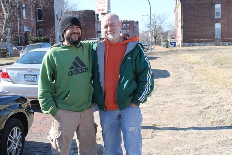 Gustavo Rendon, left, and Larry Chapman were arrested in early February for trespassing on private property. The two men tried to put a sign opposing the city's use of eminent domain back on the land after it was removed.