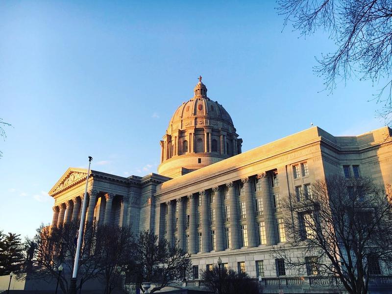 The Missouri Capitol Building at dusk