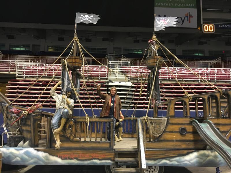 """Captain"" Tim Woodson shows off his pirate ship at the Progressive Insurance St. Louis Boat and Sportshow."