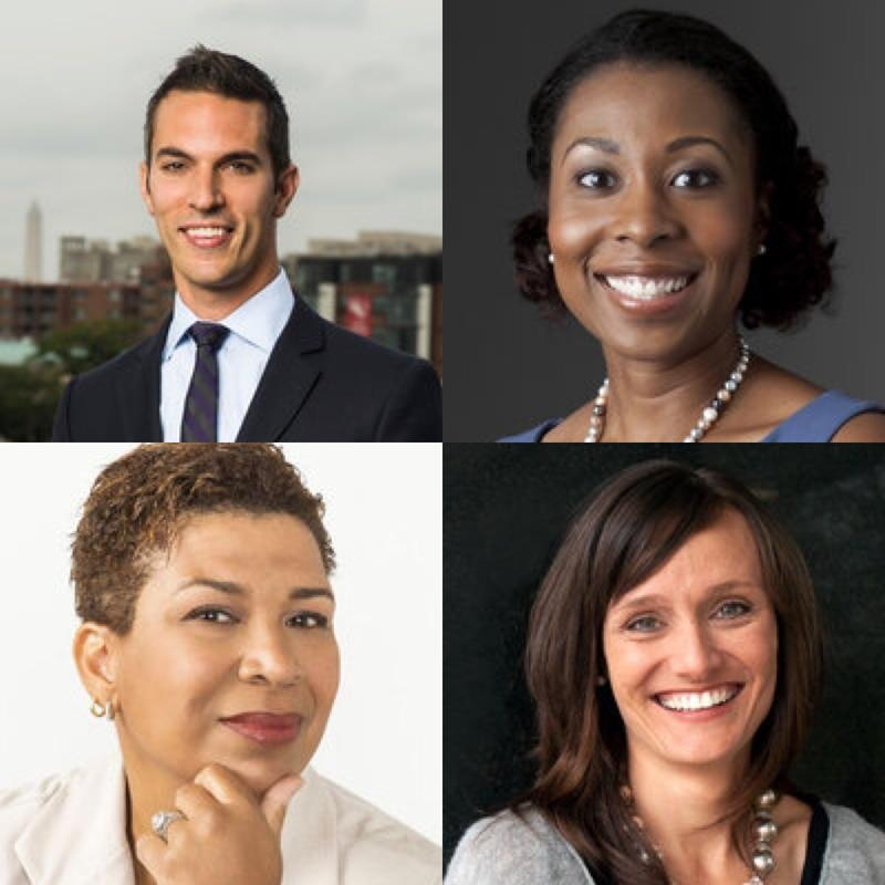 Top Row (left to right): Ari Shapiro & Audie Cornish, Bottom Row (left to right): Michel Martin & Rachel Martin