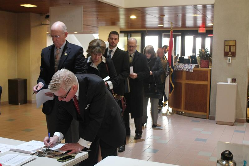 Candidates line up to file for state offices Tuesday in Jefferson City.