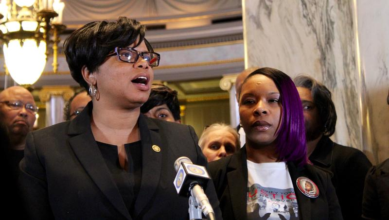 Sen. Jamilah Nasheed, D-St. Louis, speaks at a Wednesday press conference Lesley McSpadden. McSpadden, the mother of Michael Brown, wants the legislature to help expand the use of body cameras for law enforcement.
