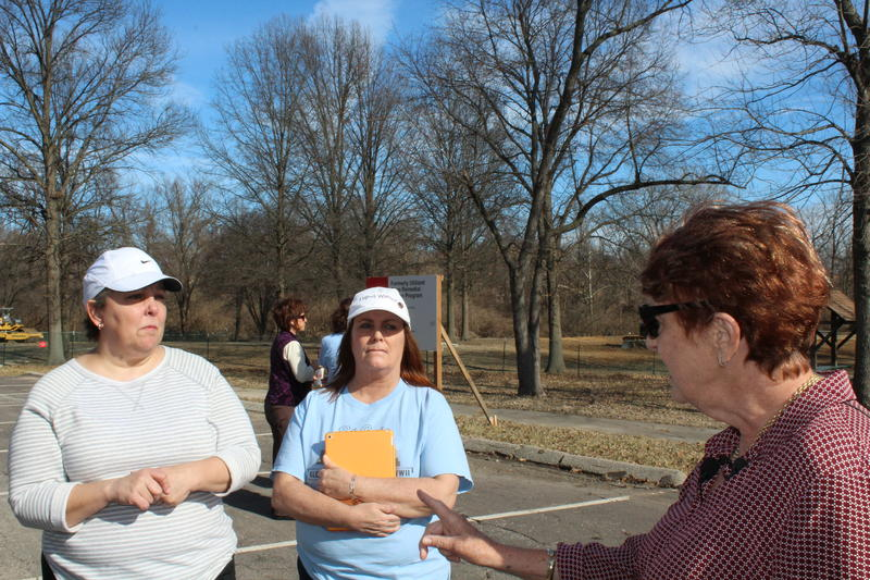 Dr. Helen Caldicott (right), an anti-nuclear activist and expert on radioactive waste, discusses how exposure to radioactive contamination could have impacted Hazelwood resident Mary Oscko's (left) lung cancer, alongside Just Moms STL's Karen Nickel.