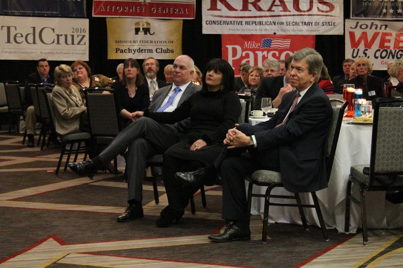 U.S. Sen. Roy Blunt, right, listens to U.S. Sen. Tom Cotton's speech at Lincoln Days.