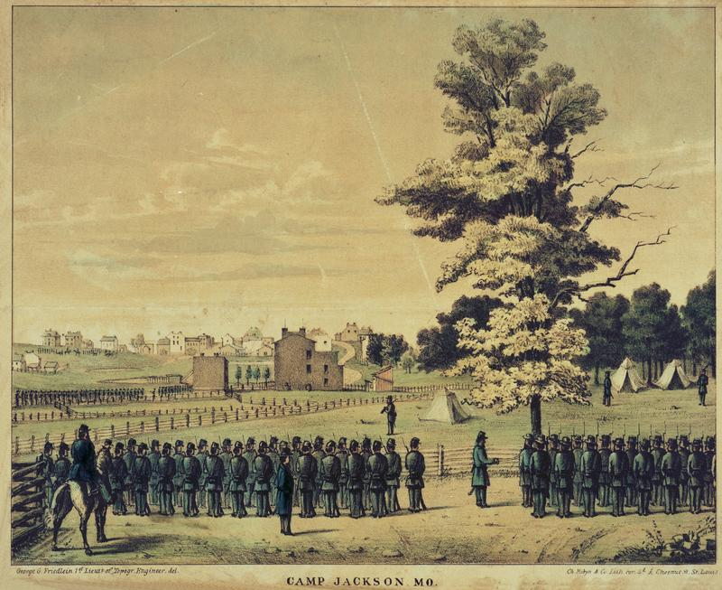Camp Jackson. Color lithograph by E. Robyn, c. 1862.