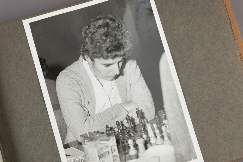Photograph of Nona Gaprindashvili in Gisela Gresser's Photo Album from the 1961 Vrnjačka Banja, Yugoslavia (present-day Serbia), Women's Candidates Tournament, c. 1961. John G. White Collection at the Cleveland Public Library.