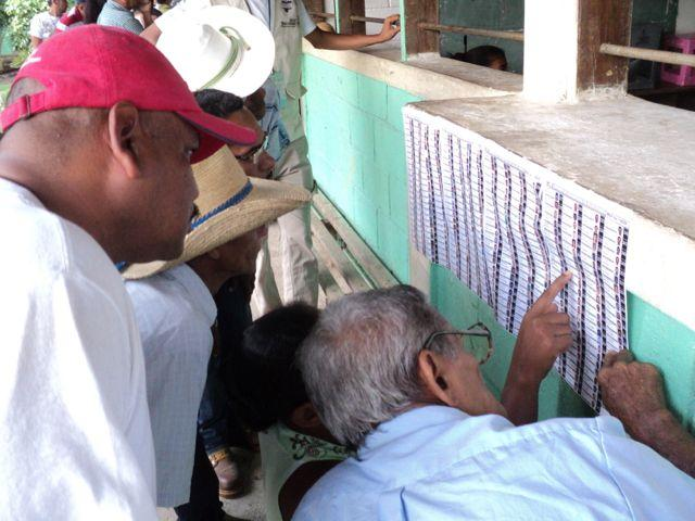 Looking for names on voter lists in Honduras