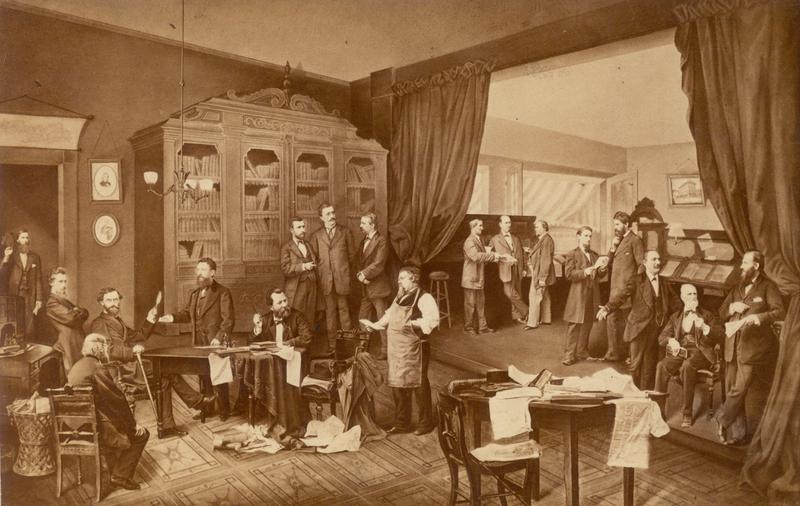 Editorial Room of the Westliche Post newspaper. Carl Schurz is seated lower left next to the table, c. 1868.