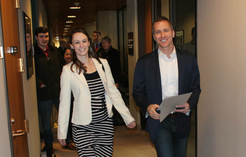 Eric Greitens, a GOP gubernatorial hopeful, arrives with his wife, Sheena.