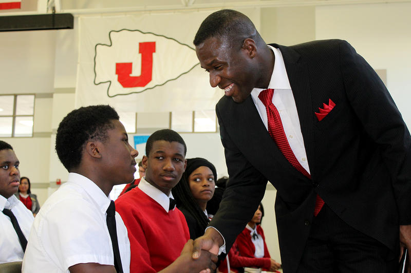 Jennings Freshman Kevion McKay shakes hands with Superintendent-elect Art McCoy Friday, Feb. 19, 2016.
