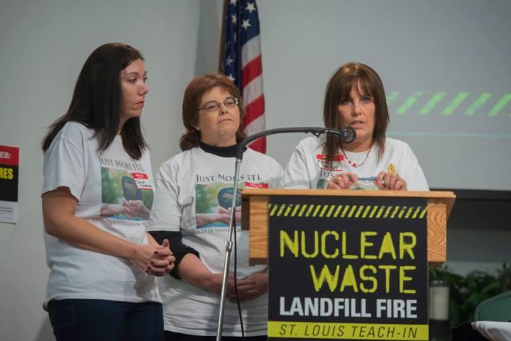 Co-founder of Just Moms STL Karen Nickel (at podium) said her group has the support of Missouri's U.S. Senate representatives in their efforts to meet with the EPA.