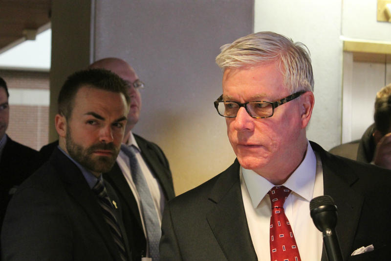 Lt. Gov. Peter Kinder talked to reporters after filing.