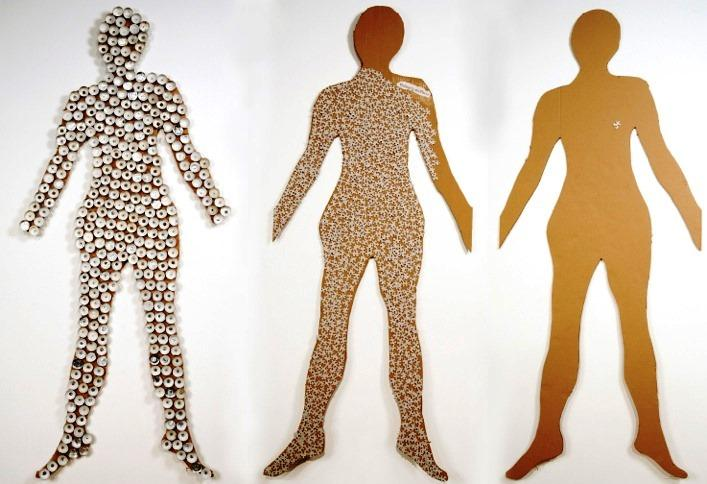 "Left to right: ""Meltdown"" ""Puzzled"" and ""Missing Piece"" by Judith Shaw. ""Cover-Up,"" embellished with Band-Aids and ""Figured Out,"" which has no adornment, are two more pieces in the show."