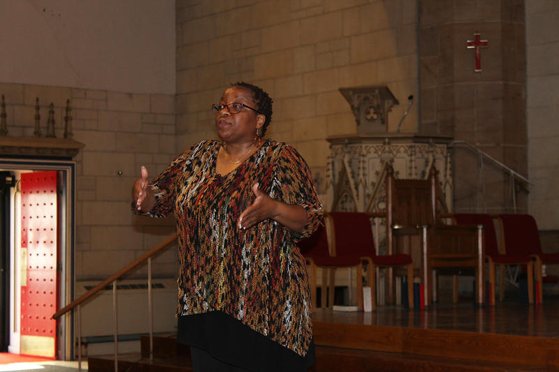 Naomi Tutu speaks about the reconciliation process she witnessed in South Africa Sunday, Feb. 21, 2016 at Christ Church Cathedral in downtown St. Louis. Her father, Desmond Tutu, was chair of South Africa's Truth and Reconciliation Commission.