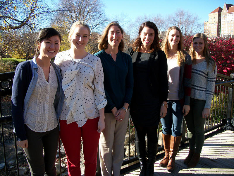 SLU Psychologist Jillon Vander Wal, third from left, gathers for a portrait with the research assistants who work at the Eating and Weight Studies Lab.