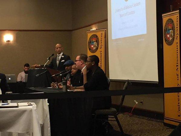 A student panel discusses diversity efforts at the University of Missouri Board of Curators meeting on Feb. 5, 2016