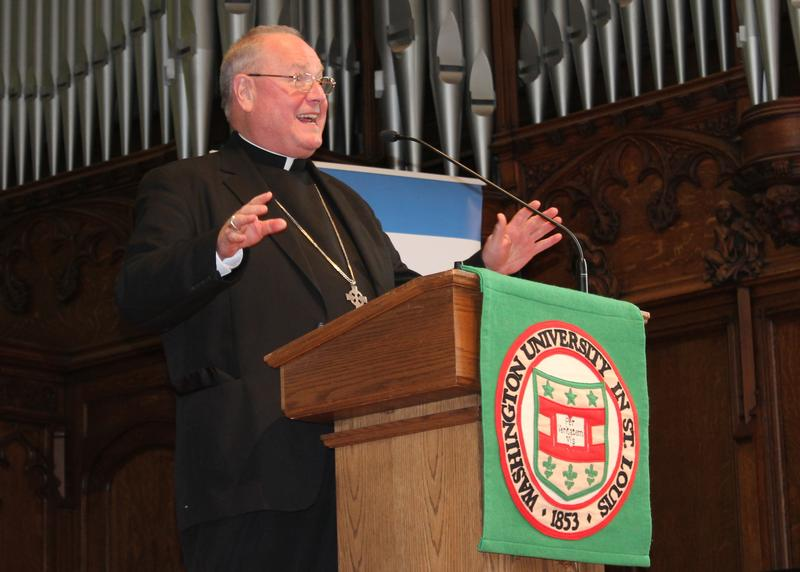Archbishop of New York and St. Louis native, Cardinal Timothy Dolan, drew on the papacies of popes John Paul II, Benedict XVI and Francis to discuss how religion can play a role alongside politics.