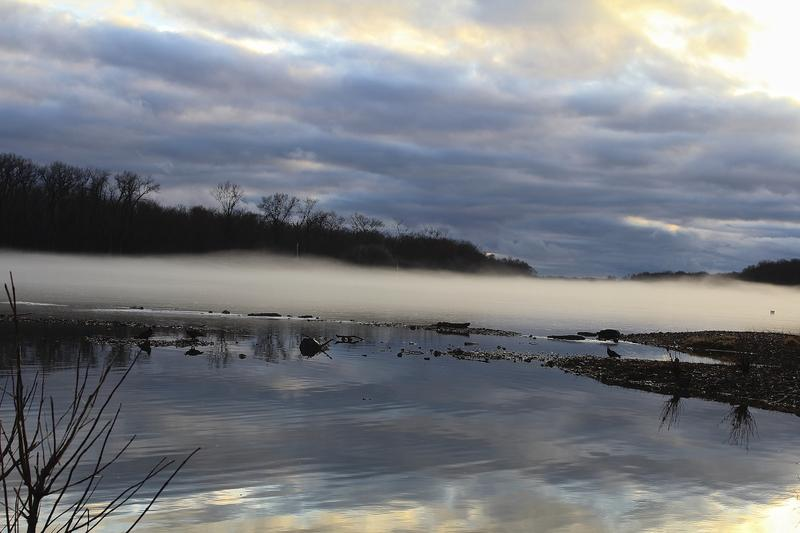 Fog hung over the water Sunday, creating a spectacle at the confluence of the Illinois and Mississippi rivers in Grafton.