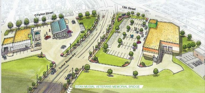 An artist's rendering of the Green Leaf Market and ZOOM Store to be built at Tucker Boulevard and 13th Street. April 2016