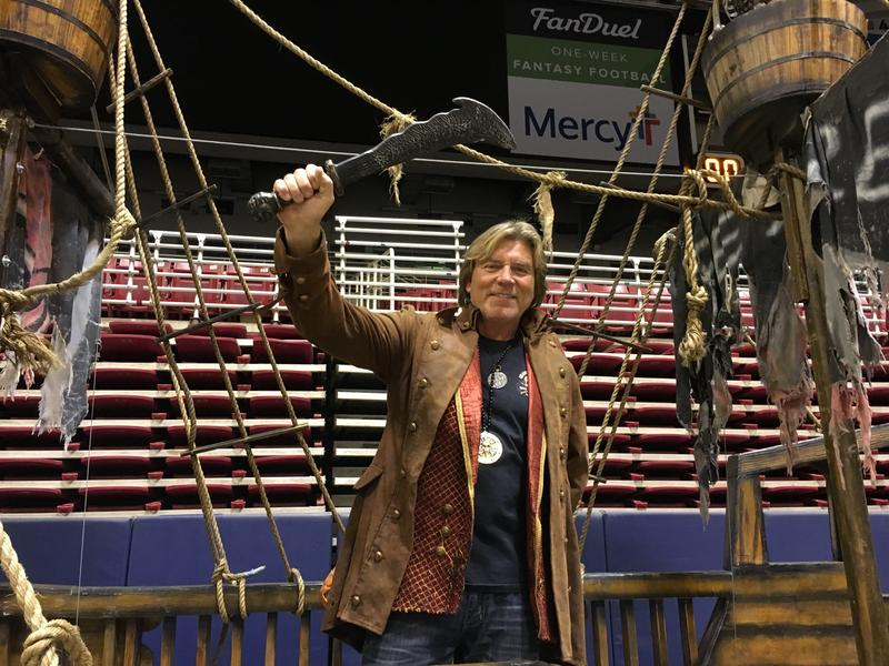 Tim Woodson shows off his pirate ship at the Progressive Insurance St. Louis Boat and Sportshow. The event was held at the Edward Jones Dome, the former home of the St. Louis Rams.