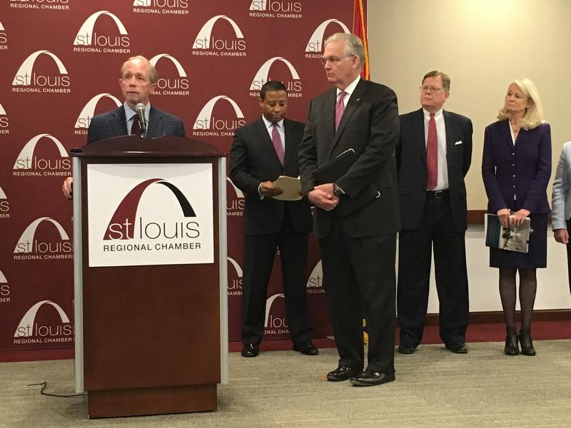 Civic Progress President Tom Irwin stands with Missouri Gov. Jay Nixon at the St. Louis Regional Chamber. Business groups held a presser condemning the amendment.