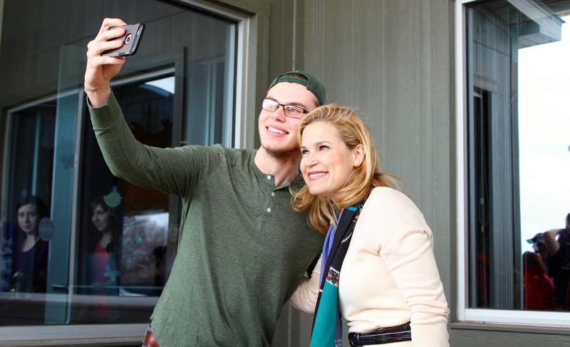 Heidi Cruz takes a picture with a supporter at Eckert's Restaurant in Belleville. Heidi Cruz is campaigning across Illinois for GOP presidential contender Ted Cruz.