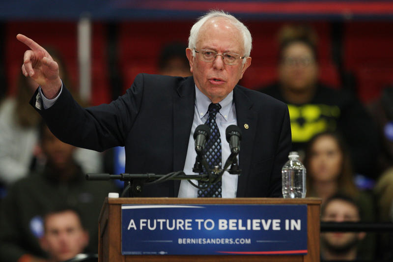 Democratic presidential candidate Sen. Bernie Sanders addresses nearly five thousand people on the campus of Southern Illinois University in Edwardsville, Illinois on March 4, 2016.