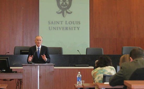 Legal Services Corporation president James Sandman speaks to students and faculty at Saint Louis University law school on March 1, 2016.