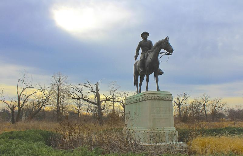 The statue of Union Gen. Franz Sigel is just a short walk from the Confederate memorial in Forest Park.