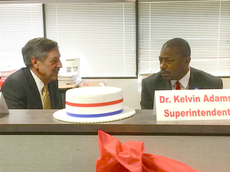 Rick Sullivan (left), president of the city schools' Special Administrative Board, and Superintendent Kelvin Adams attend the campaign kickoff for Proposition 1