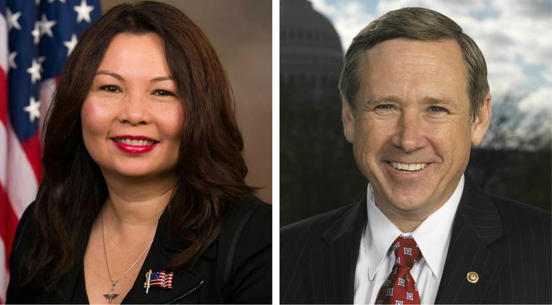 Democrat Tammy Duckworth, left, will fact Republican incumbent Mark Kirk for the U.S. Senate in Illinois.