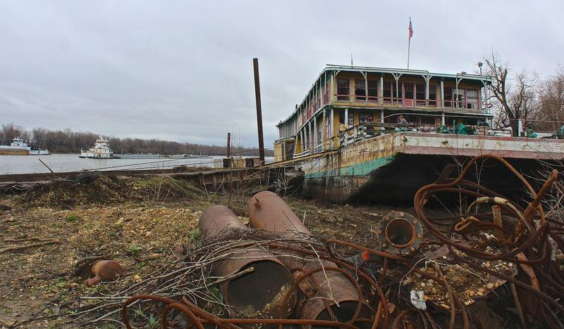 The Goldenrod Showboat's final resting place: The Illinois River, near Kampsville, Ill.