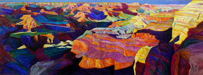 Sunset from Hopi Point Acrylic on canvas (diptych) 67-1/2 inches x 15 feet 16 inches 1989