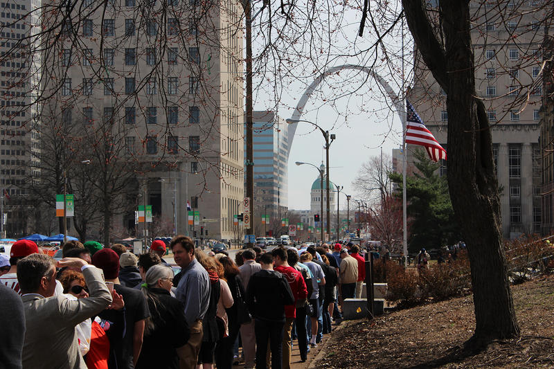 The line of supporters of Republican presidential candidate Donald Trump wrapped around a city block in downtown St. Louis.