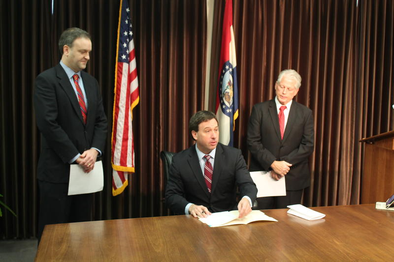 St. Louis County Executive Steve Stenger signed the prescription drug monitoring bill into law on Wednesday.