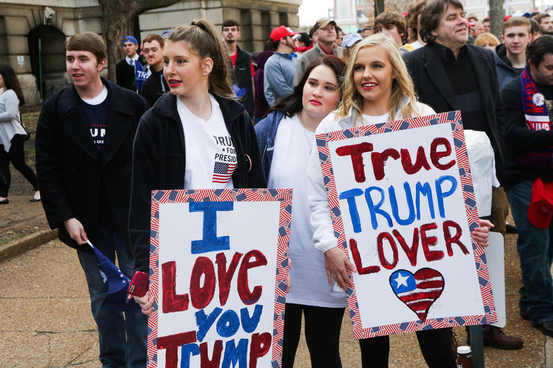 Donald Trump expressed that the media does not show the love that is at his rallies, as 3 young girls express their affection for him while watching the the non supporters of him express their feelings for him Friday morning at the Peabody Opera House.