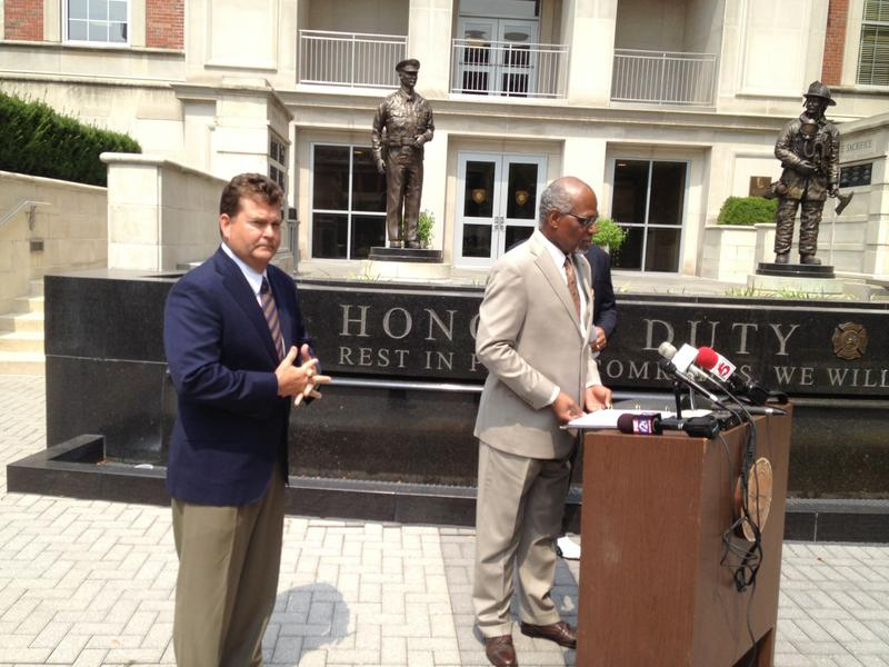 Dave Spence, the GOP's nominee for governor, announced Tuesday he was withdrawing his nomination to be on the St. Louis County Board of Police Commissioners. He's seen here with Charlie Dooley.