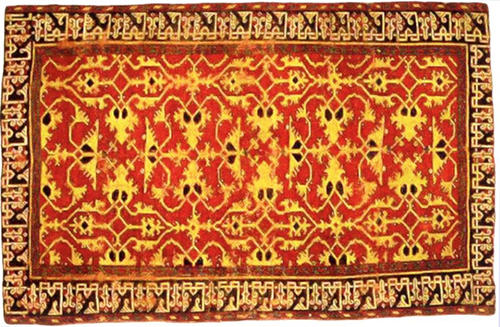 One of the rugs in the Carpet and the Connoiseur exhibit at the St. Louis Art Museum. This is a western Anatolian knotteed woll carpet with 'Lotto' patter from the 16th century.