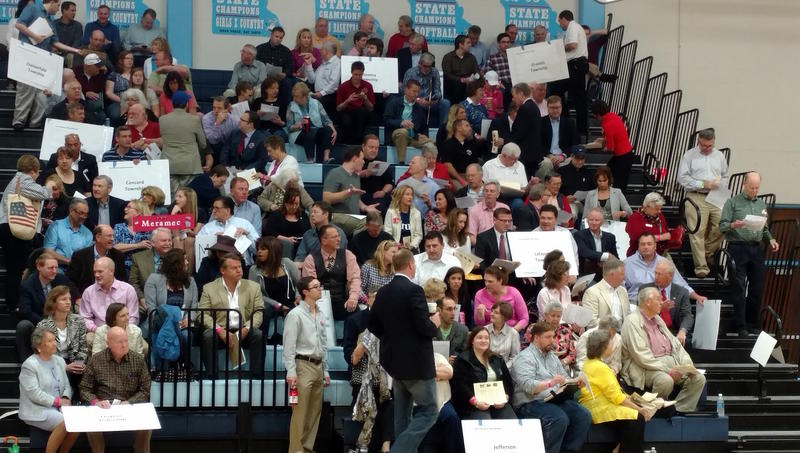 Republicans at 2nd District convention at Parkway West High School gather to elect presidential delegates.