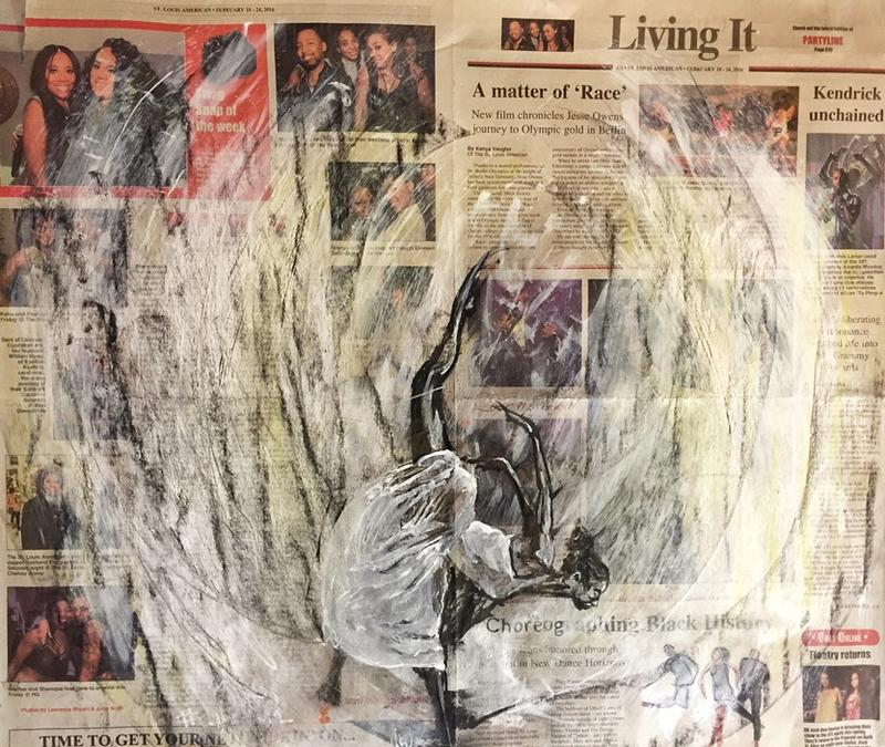 One of Howard Barry's paintings on pages of the St. Louis American newspaper. He used Wite-Out correction fluid in this piece.