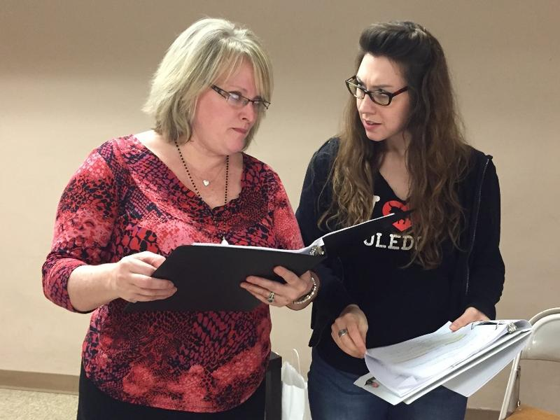"Kim Furlow and Emily Baker during a rehearsal of ""A Comfortable Fit,"" part of the ""Briefs"" festival of LGBT plays"