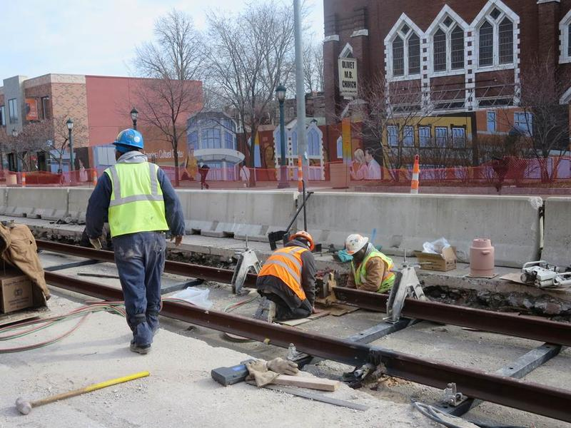 Loop Trolley construction in Feb. 2016