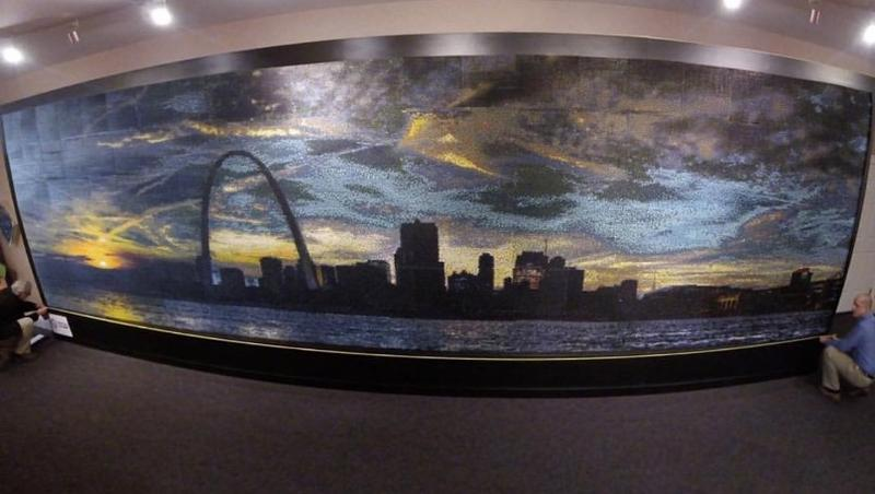 A view of the St. Louis skyline Connor Wright created from 305,000 crayons and some help from local schoolchildren.