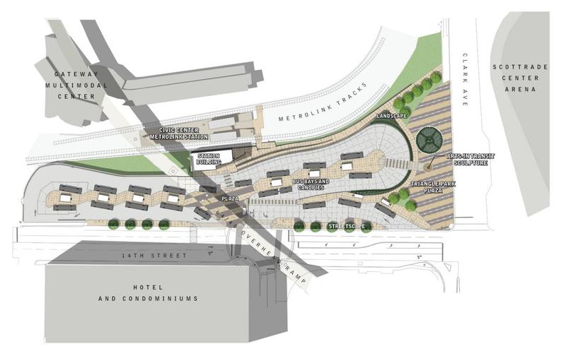 Designed by Arcturis Inc., the expanded Civic Center Transit Center in downtown St. Louis will include bigger bus bays, a new building, bathrooms, digital arrival time boards, and concessions.