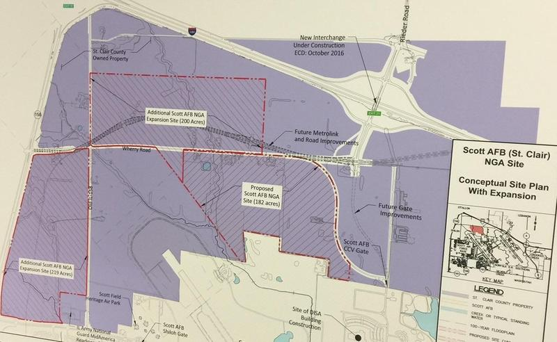 A map of the proposed location for the new NGA facility in St. Clair County. It includes the original 182 acres offered by the county, as well as another 200 acres.